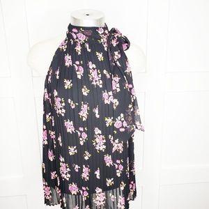 Elle Black Floral Tie High Neck sleeveless top
